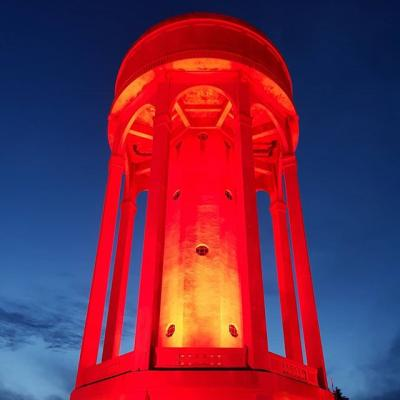The launch... Tilehurst Water Tower for Turn Tilehurst Red for Rememberance Sunday.